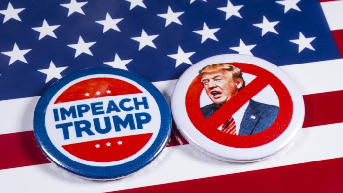 Anti-Tump badges over an American flag background.