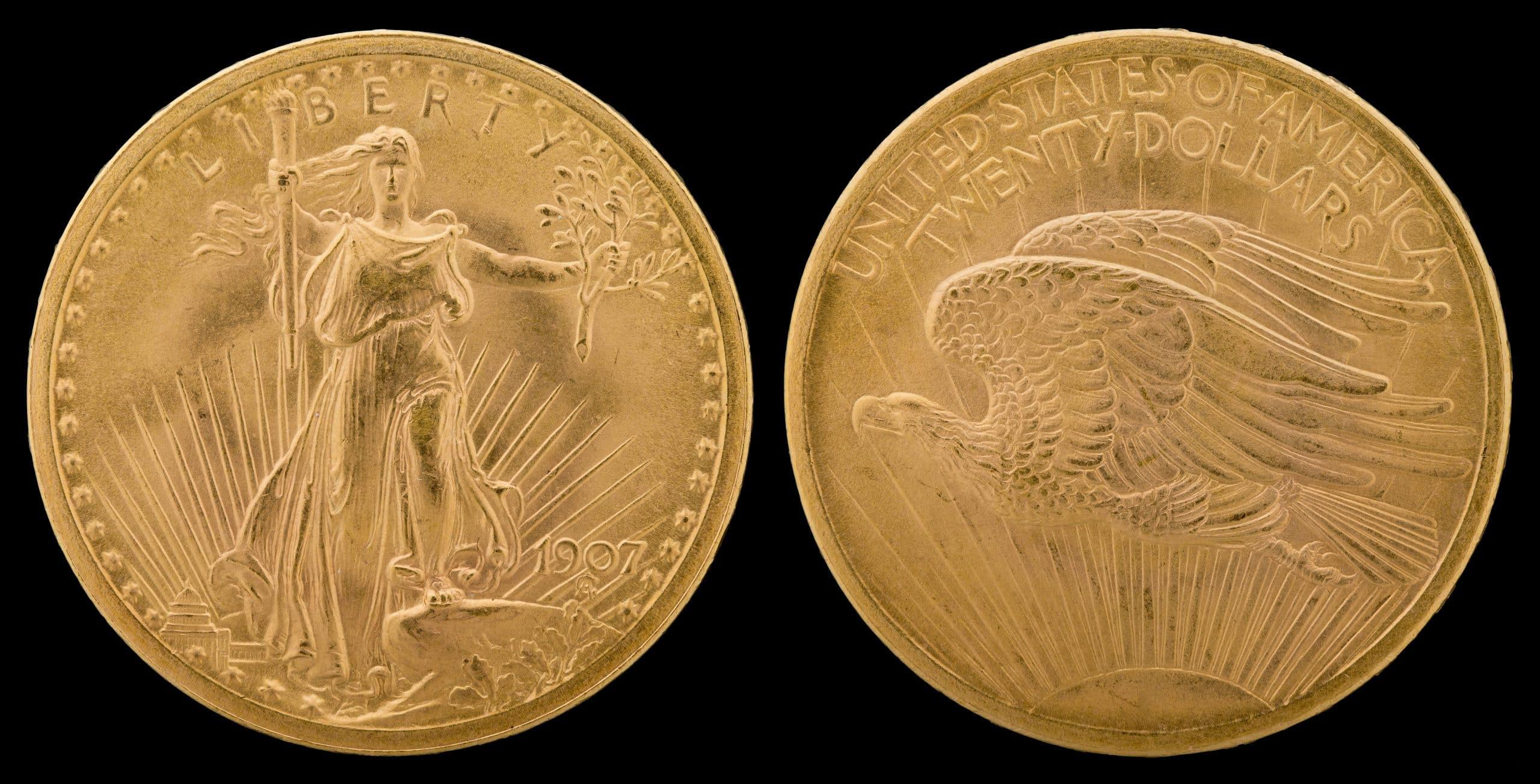 Nnc Us 1907 G$20 Saint Gaudens (arabic)
