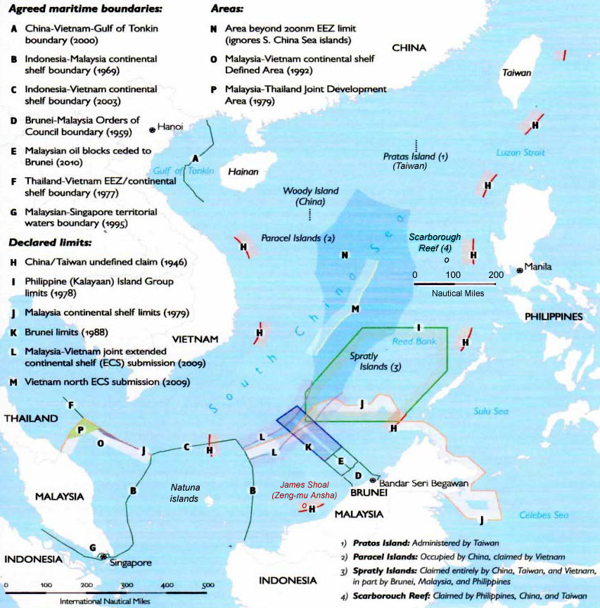 South China Sea Claims And Boundary Agreements 2012