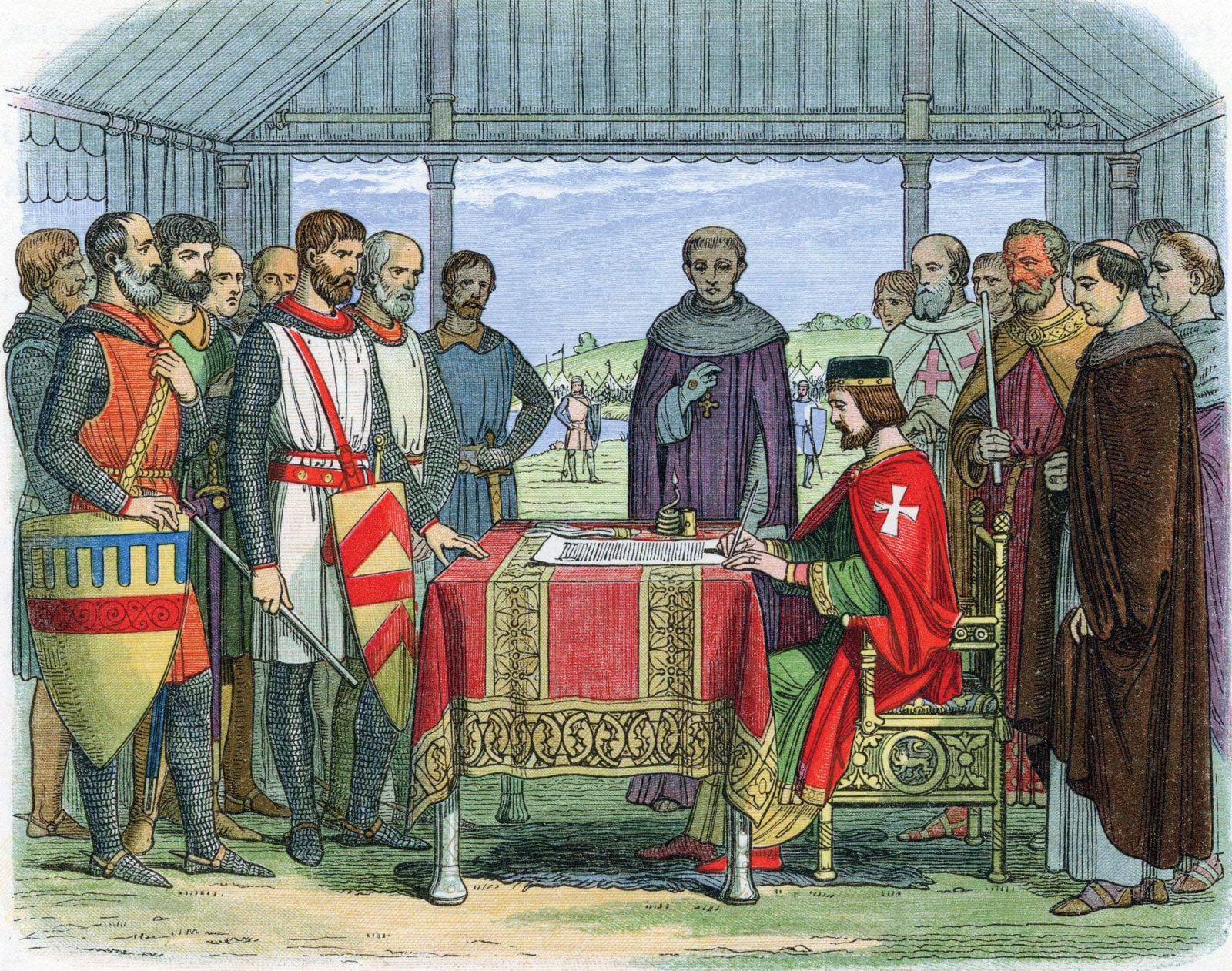 Engraving King John Magna Carta Runnymede England June 15 1215